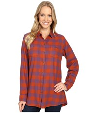 Woolrich Buffalo Check Boyfriend Shirt Red Rock Check Women's Long Sleeve Button Up