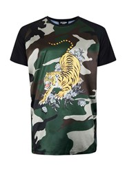 Topman Jaded Camouflage Satin T Shirt Green