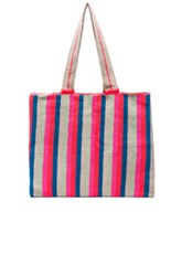 Sophie Anderson Alula Tote In Neon Stripes Pink