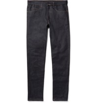 Gucci Slim Fit Appliqued Stretch Denim Jeans Dark Denim