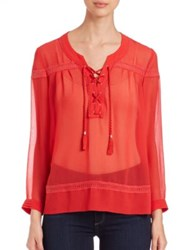 The Kooples Muslin And Lace Shirt Coral