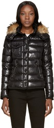 Moncler Black Down And Fur Armoise Jacket