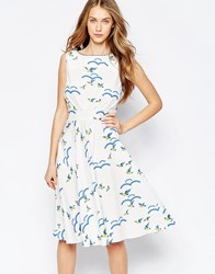 Trollied Dolly Royally Retro Midi Dress In Flock Of Birds Print Ivory Flock Of Birds White