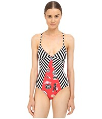 M Missoni Circus Strip One Piece Red Women's Swimsuits One Piece