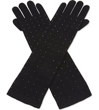 William Sharp Swarovski Crystal Cashmere Elbow Gloves Black