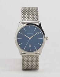 Sekonda Silver Mesh Bracelet Watch With Blue Dial Silver