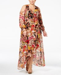 Inc International Concepts Plus Size Cold Shoulder Maxi Dress Only At Macy's Pop Flower