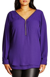 City Chic Plus Size Women's 'Sexy Fling' Zip V Neck Top