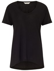 Miss Selfridge Longline V Neck T Shirt Black