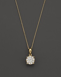 Bloomingdale's Diamond Cluster Pendant Necklace In 14K Yellow Gold .25 Ct. T.W.