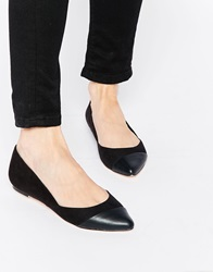 Faith Aero Black And Red Pointed Flat Shoes Blackred