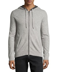 Vince Cashmere Hooded Zip Front Sweatshirt Heather Steel