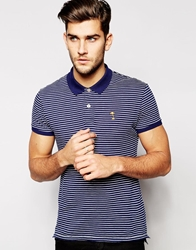 Esprit Stripe Jersey Polo Shirt Blue
