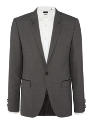 Hugo Arenz Textured Blazer With Leather Trim Detail Charcoal