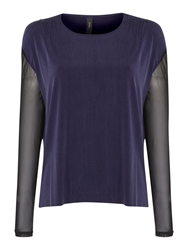 Y.A.S. Long Sleeve Cupro Top Navy