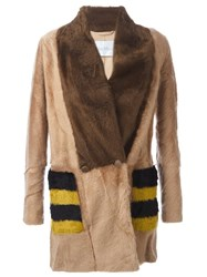 Max Mara Striped Pockets Fur Jacket Brown