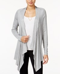 Bar Iii Ribbed Waterfall Cardigan Only At Macy's Light Grey