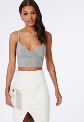 Missguided Jersey Wrap Over Bralet Grey Grey