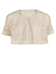 Gina Bacconi Daisy Embroidered Organza Bolero Cream
