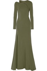Emilio Pucci Cutout Embellished Stretch Jersey Gown Army Green