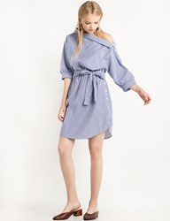 Pixie Market Button Side Striped Off The Shoulder Shirt Dress