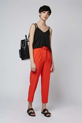 Topshop Belted Peg Trousers Red