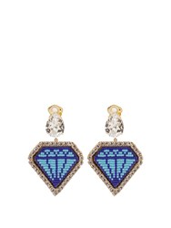 Shourouk Emojibling Diamond Motif Earrings Blue Multi