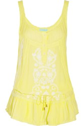 Melissa Odabash Jaz Embroidered Muslin Dress Yellow