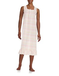 Miss Elaine Lace Accented Plaid Nightgown Beige Multi Plaid
