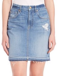 7 For All Mankind Released Hem Mini Pencil Skirt Rigid Blue Orchid