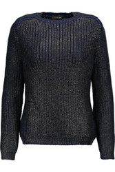 Tom Ford Coated Ribbed Wool Sweater Midnight Blue