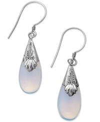 Jody Coyote Sterling Silver Earrings Glass Teardrop