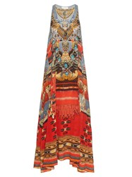 Camilla Wandress Print Silk Maxi Dress Red Multi