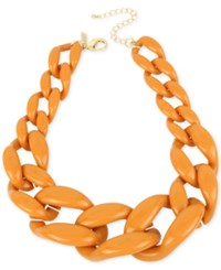 Inc International Concepts Iris X Gold Tone Large Link Collar Necklace Only At Macy's Orange