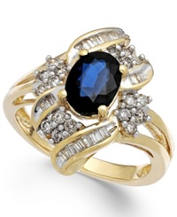 Macy's Sapphire 1 3 8 Ct. T.W. And Diamond 1 2 Ct. T.W. Ring In 14K Gold Blue