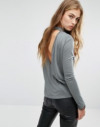 Religion High Neck Open Back Top With Bead Detail And Long Sleeves Gun Metal Grey