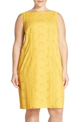 Plus Size Women's Chetta B Sleeveless Eyelet Cotton Sheath Dress Daffodil