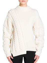 Jil Sander Long Sleeve Wool Cable Knit Sweater Ivory