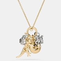 Coach Rexy Skull Charm Set Necklace Gold Silver