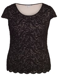 Chesca Scallop Trim Lace Top Black