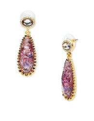 Lonna And Lilly Abalone Glass Studded Teardrop Earrings Burgundy
