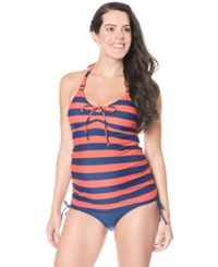 Motherhood Maternity Striped Halter Tankini Swimsuit