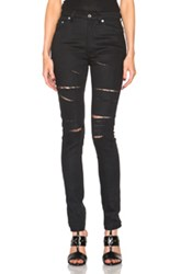 Saint Laurent Skinny 5 Pocket High Waist Destroyed Jean In Black