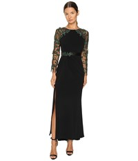 Marchesa Fitted Stretch Crepe Gown With Crystal Embroidered Raglan Sleeves And Beaded Satin Belt Black Women's Dress