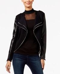 Inc International Concepts Petite Mixed Media Moto Jacket Only At Macy's Deep Black
