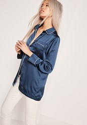 Missguided Pyjama Blouse Navy Blue