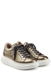 Brunello Cucinelli Sheepskin Lined Metallic Leather Platform Sneakers Silver