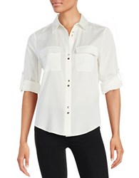 Ivanka Trump Sheer Button Front Shirt Ivory