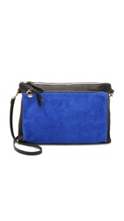 Clare V. Gosee Cross Body Clutch Black Royal Blue