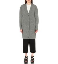 Mcq By Alexander Mcqueen Longline Wool And Cashmere Cardigan Grey Melange
